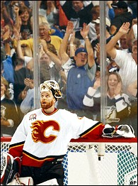 Fans in Tampa are ecstatic after Ruslan Fedotenko's second goal. Miikka Kiprusoff, not so much.