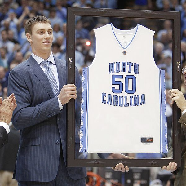 b1b3a2e25a7 AP Photo/Chuck Burton North Carolina retired the jersey of 6-foot-9 Tyler  Hansbrough, the tallest scrappy athlete in history.