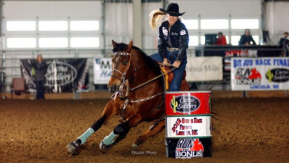 Rodeo barrel racing star Tana Poppino and Amigo in perfect sync