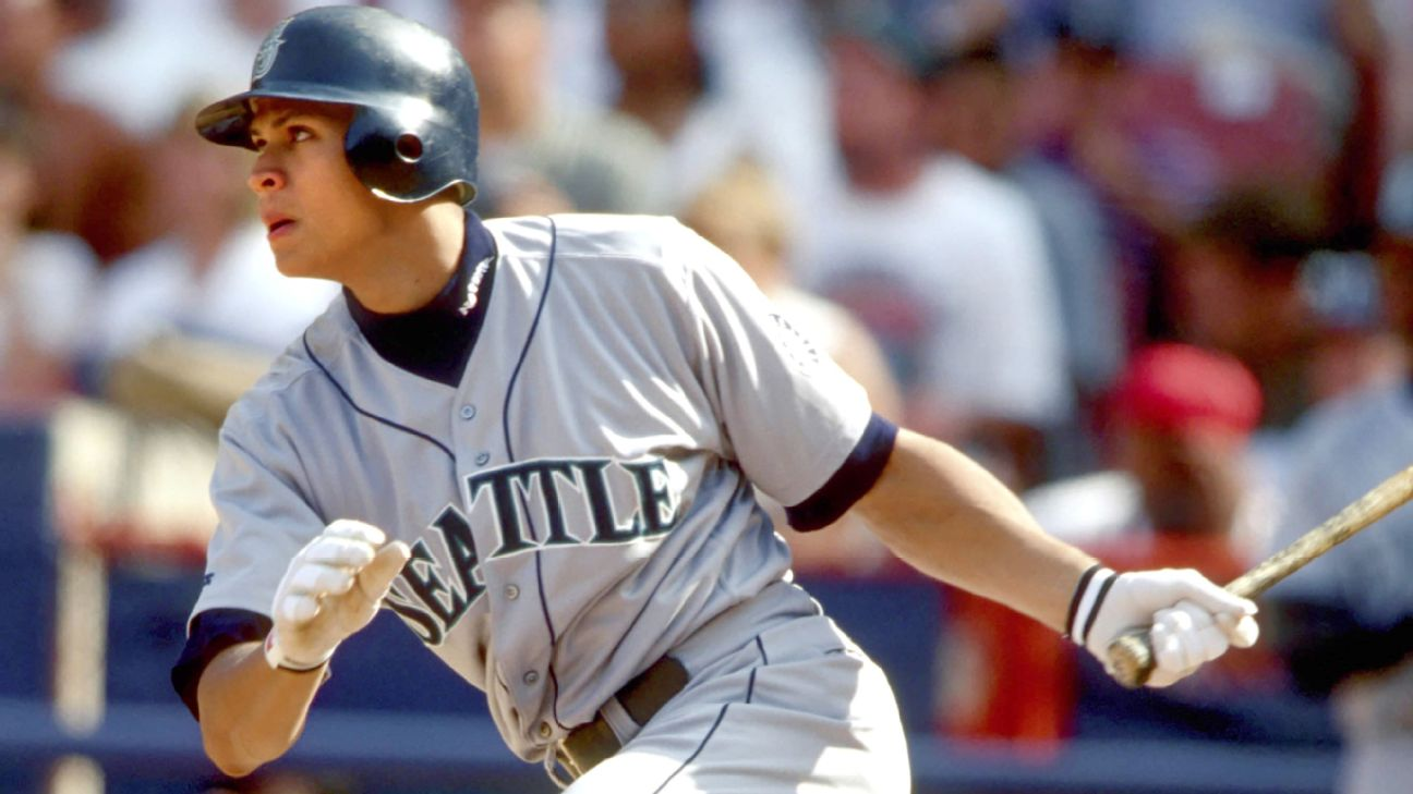 Alex Rodriguez hit .358 with 36 home runs, 123 RBIs and 141 runs in his first full season.