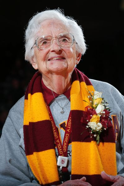 de62e50d06c Sister Jean s pregame prayer typically receives an eruption of applause  from the crowd.