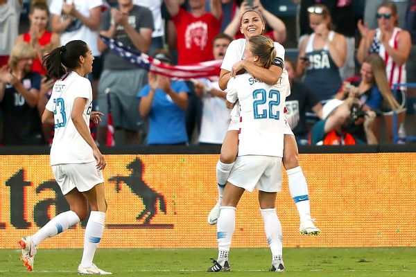 4c62bcdb54b U.S. Soccer s Alex Morgan scores hat trick to open Tournament of Nations