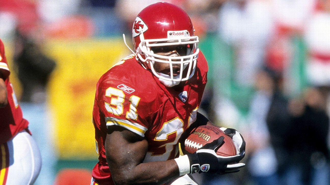 Priest Holmes piled up 2,287 yards from scrimmage and 24 touchdowns in 2002.