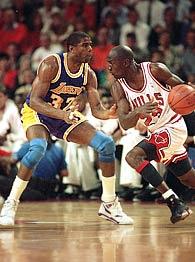Magic Johnson and Michael Jordan