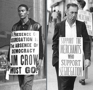 "The two sides campaigned blatantly for their beliefs on the street. But opposition to segregation was dangerous; in 1963 civil rights leader Medgar Evers was shot carrying ""Jim Crow must go!"" t-shirts."