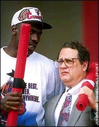 Michael Jordan celebrates with Jerry Reinsdorf