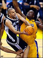 Tony Parker and Shaquille O'Neal