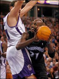 Vlade Divac and Kevin Garnett