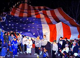 Olympic Flame with the U.S. Flag