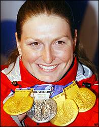 the kostelic family  for most alpine skiing gold medals won at a single olympics (three, by jana  kostelic of croatia in 2002)  we were a very strange family.