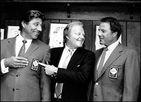 Joe Namath, Roone Arledge and Frank Gifford