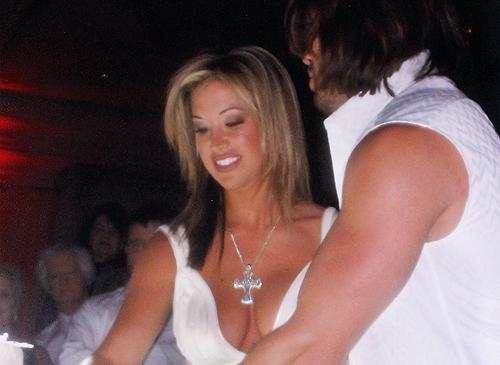 I think this picture is actually a wedding photo, that's a lot of cleavage for a wedding dress, and where are johnny's sleeves?