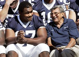 Levi Brown, left, and Joe Paterno.