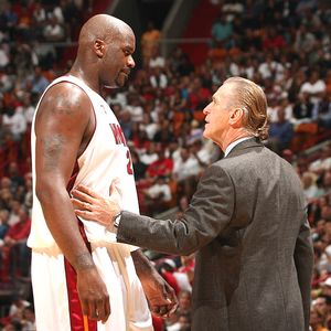 Shaquille O'Neal and Pat Riley