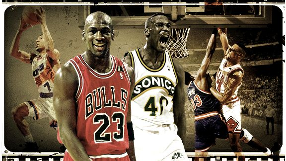 Michael Jordan, Shawn Kemp, Kevin Johnson and Scottie Pippen