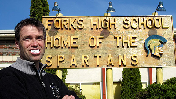 Jim Caple at Forks High School