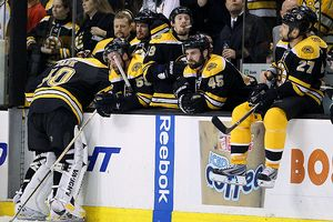 Boston Bruins react after their loss to the Flyers in the 2010 NHL Stanley Cup Playoffs