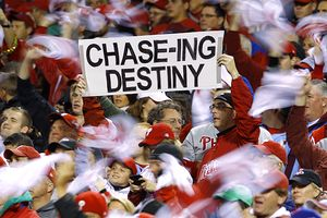 Philadelphia Phillies fan holds a sign
