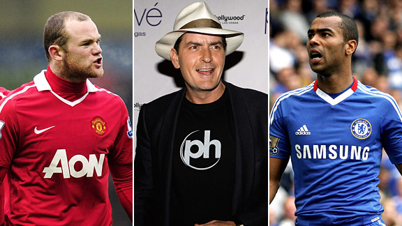 Wayne Rooney, Charlie Sheen, Ashley Cole