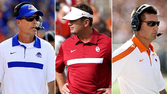 Boise State's Chris Petersen, Oklahoma's Bob Stoops and Oklahoma State's Mike Gundy