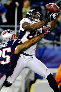 connection with receiver Demaryius Thomas (88) against New England
