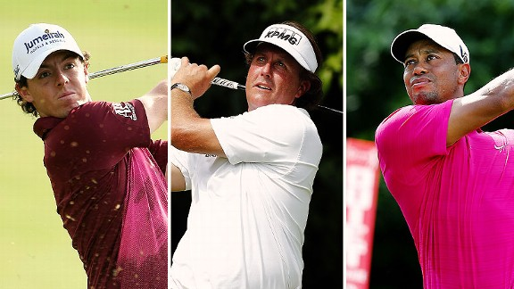 Rory McIlroy, Phil Mickelson, and Tiger Woods