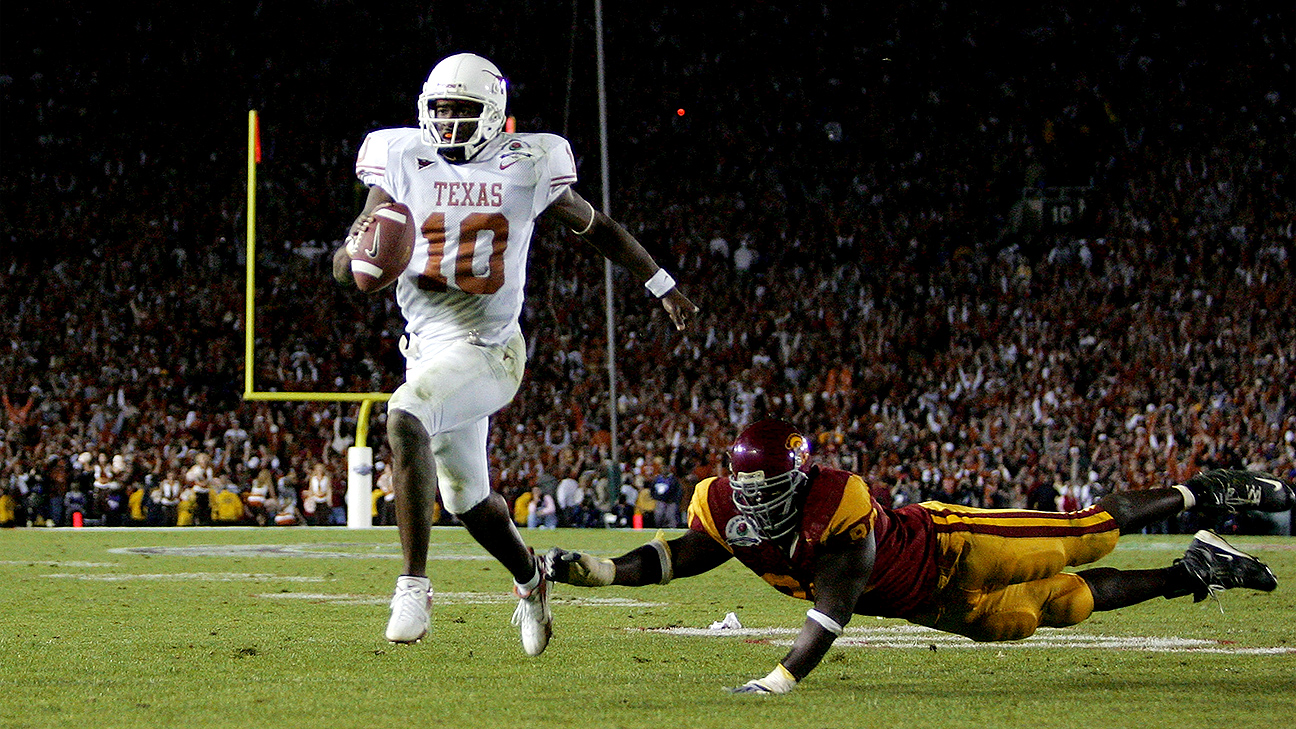 Vince Young put on one of the all-time great bowl game performances after Reggie Bush beat him out for the Heisman.