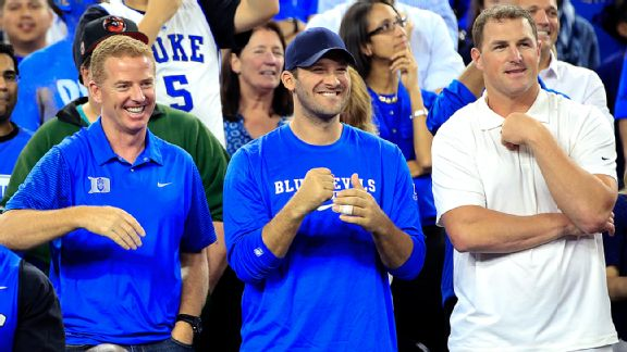 Jason Garrett, Tony Romo and Jason Witten are all Dirk Nowitzki fans, as well as basketball fans, as they attended the Duke-Gonzaga NCAA tournament game together in 2015 in Houston. Kevin Jairaj/USA TODAY Sports