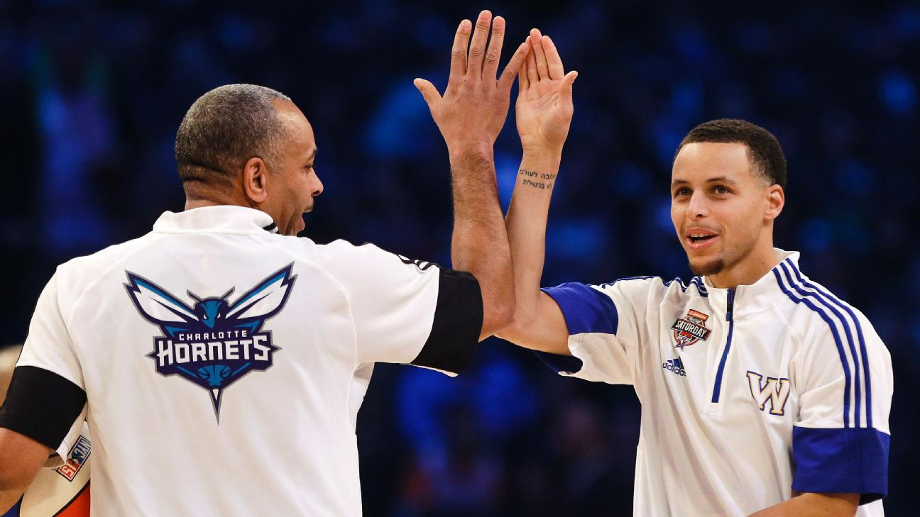 Dell Curry (left) retired as the Hornets' all-time scoring leader, and Stephen Curry has led the Warriors to three NBA championships. AP Photo/Frank Franklin II, File