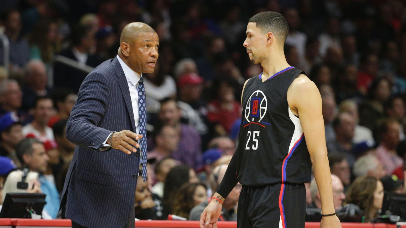 Austin Rivers (right) was the first NBA player to play for his father, Clippers coach Doc.