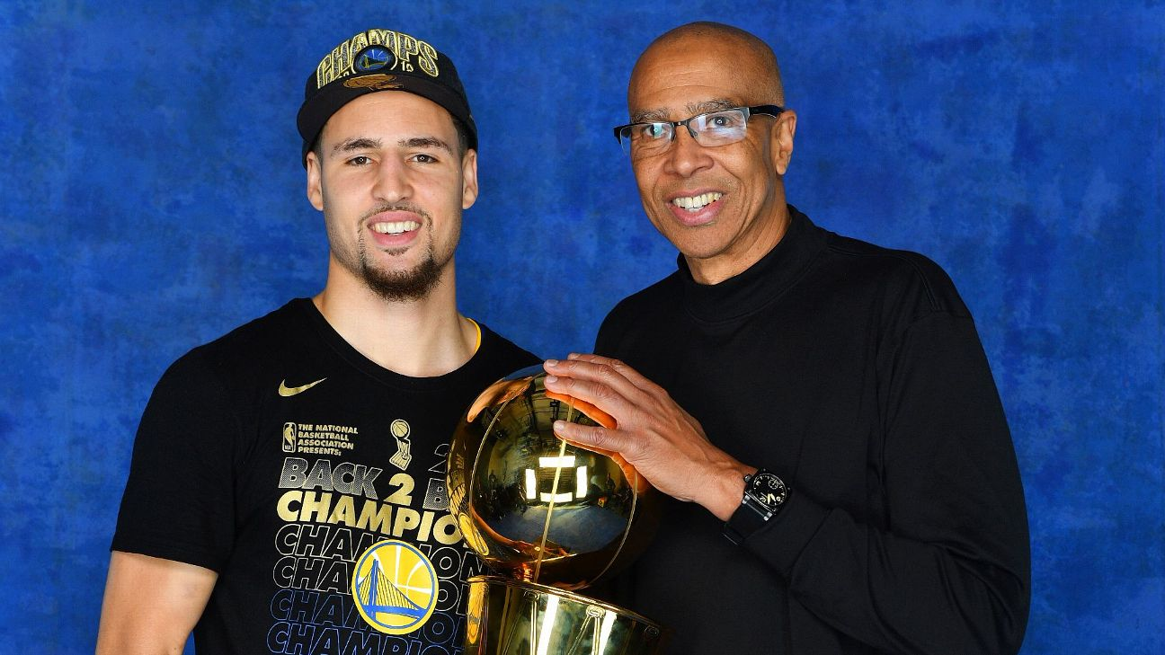 Klay Thompson (left) and Mychal Thompson became the first father-son duo to have each won back-to-back NBA championships. Jesse D. Garrabrant/NBAE via Getty Images