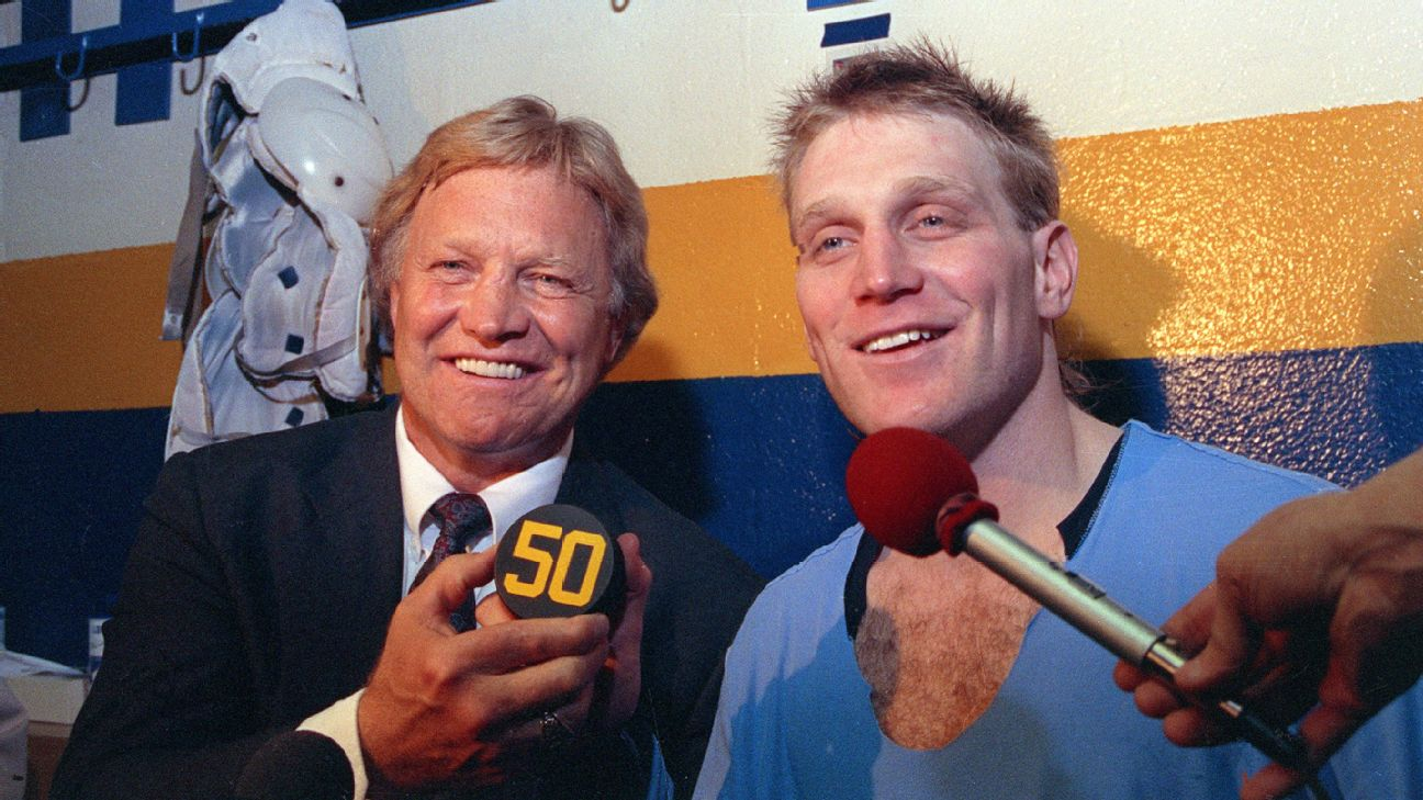 Bobby Hull (left) and Brett Hull were the first father-son duo inducted into the Hockey Hall of Fame.