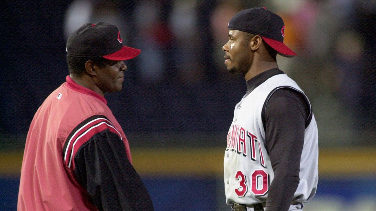 Ken Griffey Sr. (left) and Ken Griffey Jr. were the first father-son duo to hit back-to-back home runs in a game.