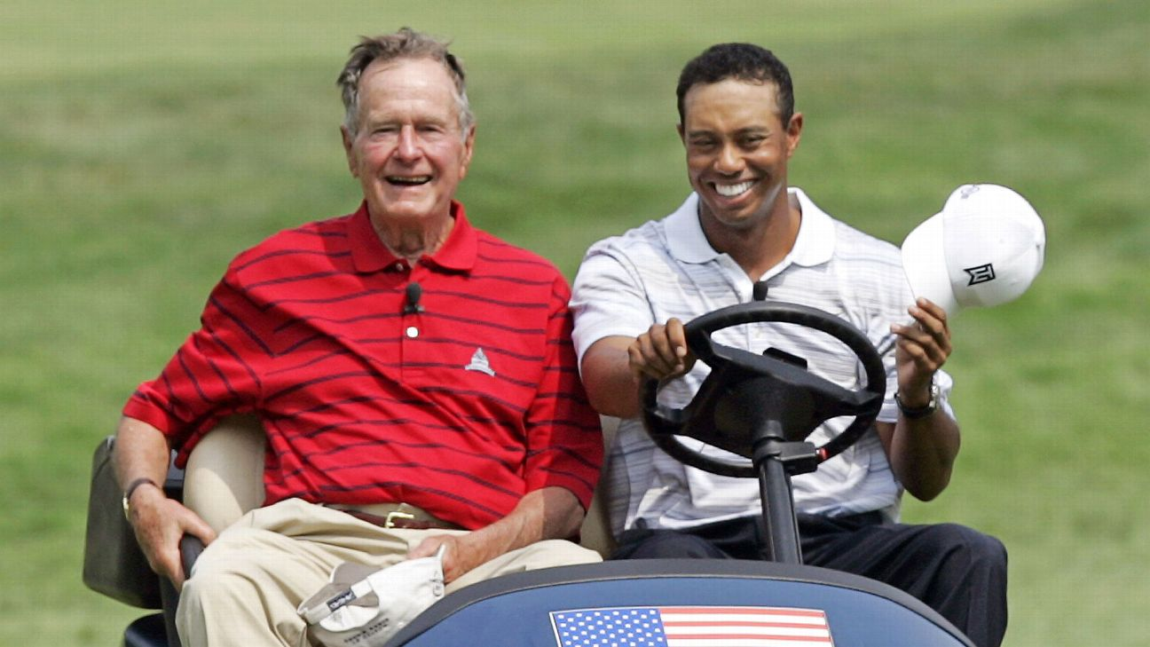 "Tiger Woods called the Bush name ""synonymous with golf."" Said Tiger: ""Anyone who's ever been around him knows how much he loved his golf and how much he supported it and how much we're going to miss him."