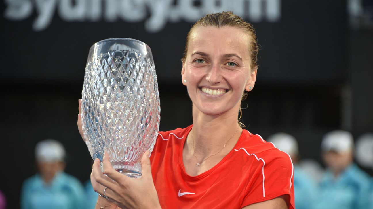 Two-time Wimbledon champion Petra Kvitova beat Ashleigh Barty 1-6, 7-5, 7-6 (3) in the women's singles final on Saturday at the Sydney International.