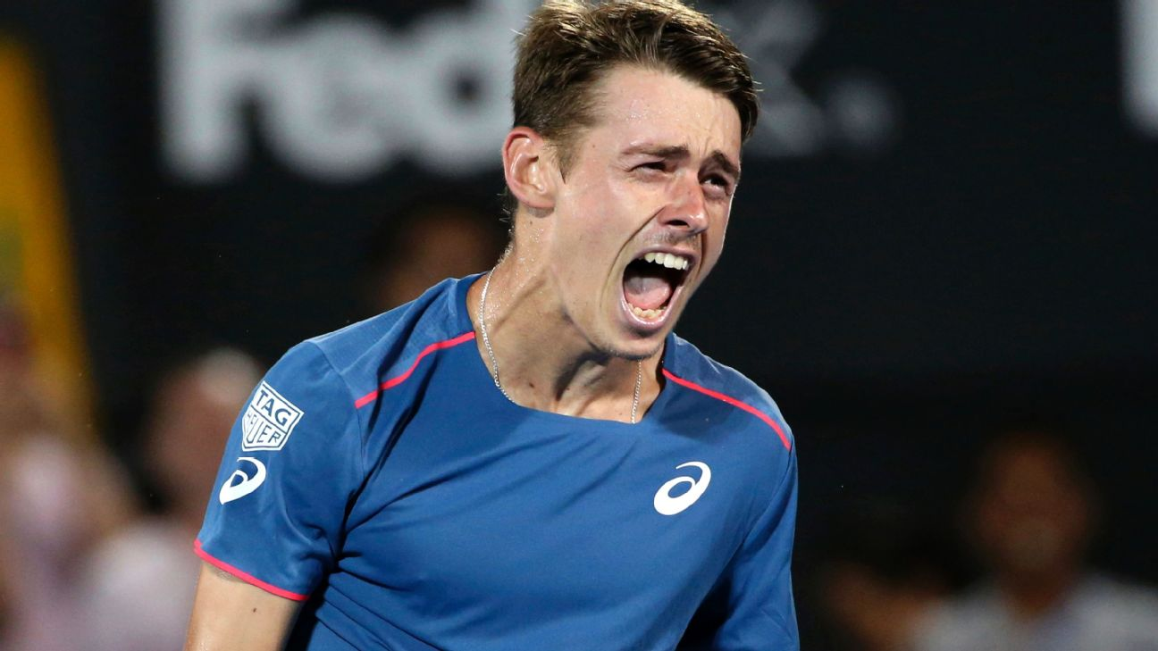 Alex de Minaur of Australia reacts to his win over Andreas Seppi of Italy in the men's final match at the Sydney International. AP Photo/David Moir