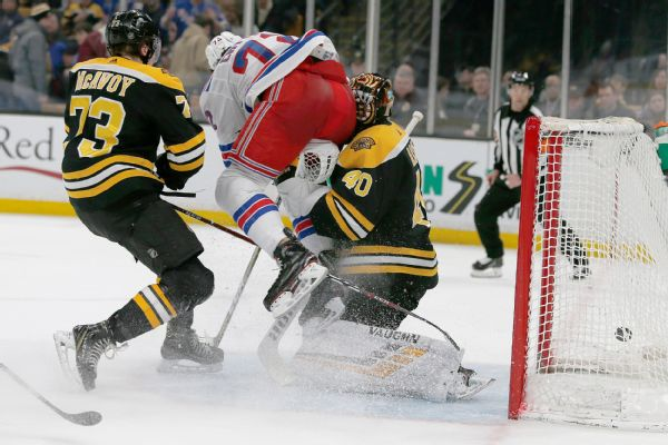 Rangers forward Filip Chytil flies into Bruins goalie Tuukka Rask in the first period after being hit by Charlie McAvoy. Rask left the game and was diagnosed with a concussion.