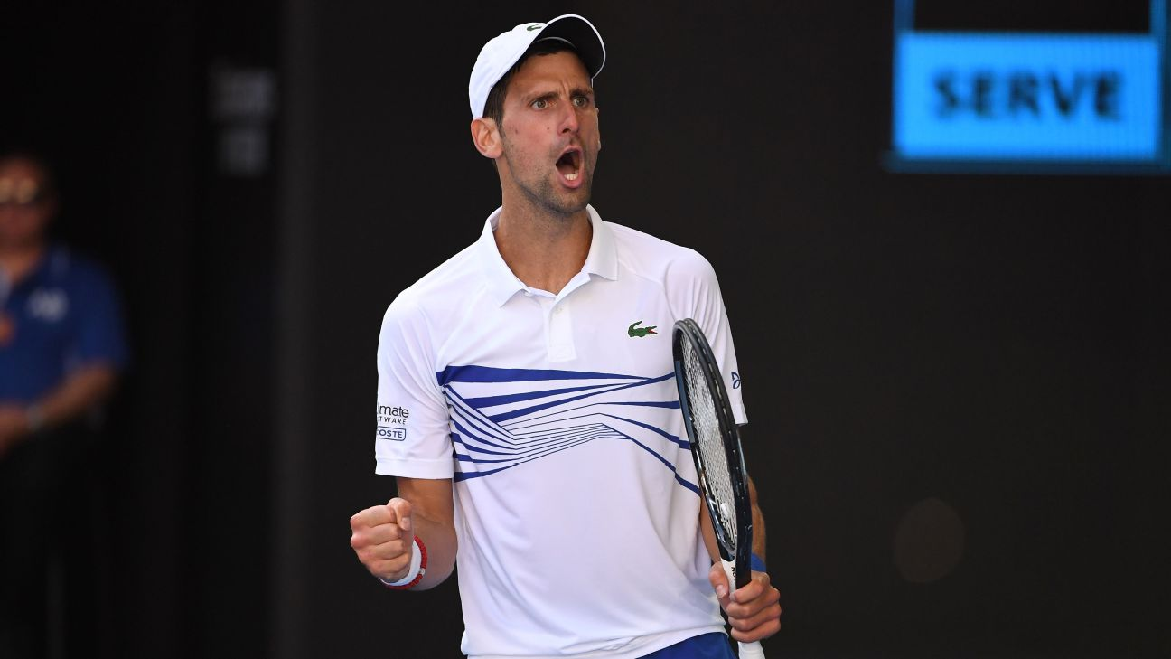 Novak Djokovic celebrates after booking his place in the fourth round of the 2019 Australian Open.