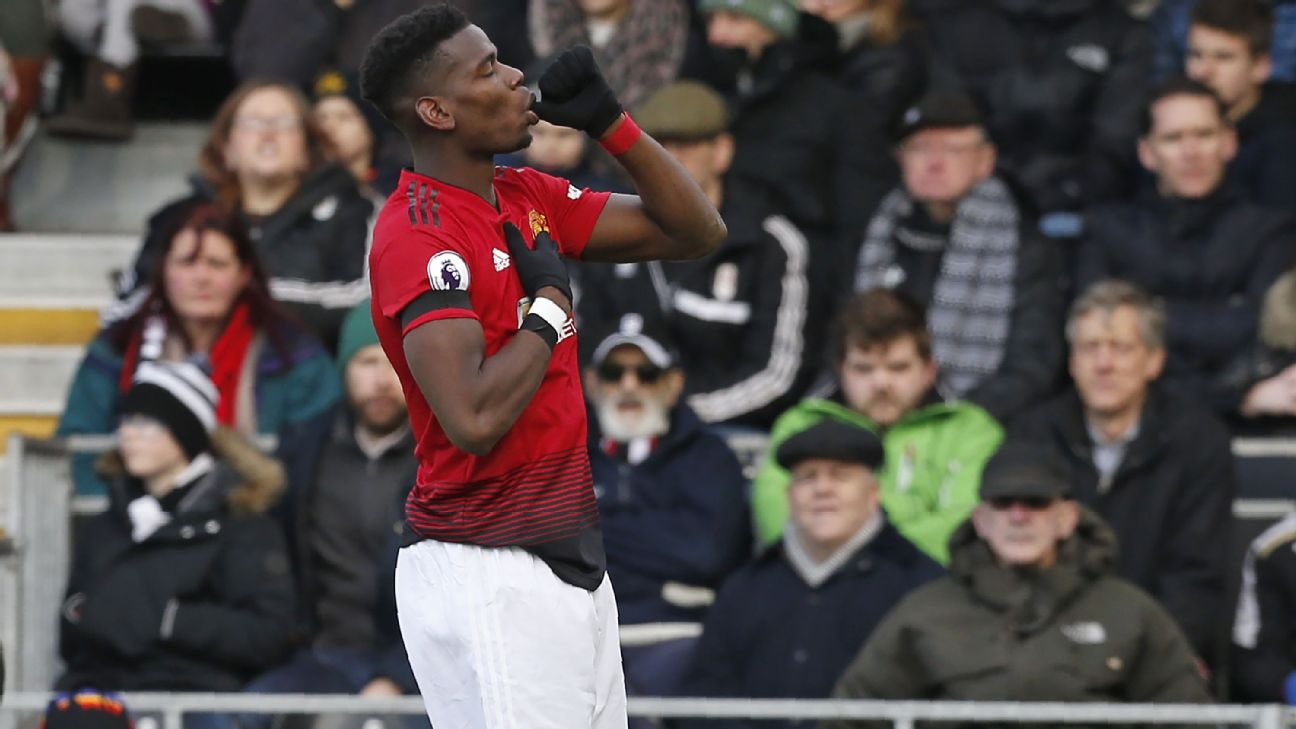 Paul Pogba has been a different player since the arrival of Ole Gunnar Solskjaer, spearheading the revival at Old Trafford. IAN KINGTON/AFP/Getty Images
