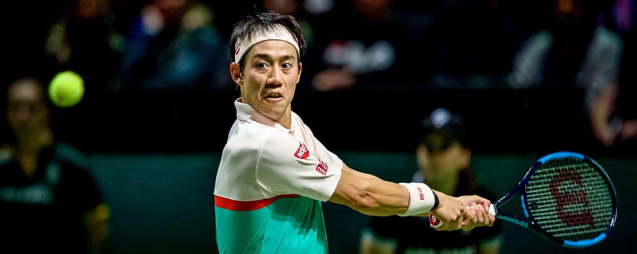 Kei Nishikori in action at the ABN AMRO World Tennis Tournament in Rotterdam -- Feb. 12, 2019.