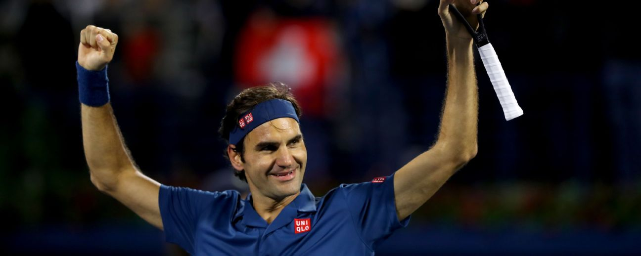Roger Federer celebrates his victory over Stefanos Tsitsipas in Dubai Photo by Francois Nel/Getty Images