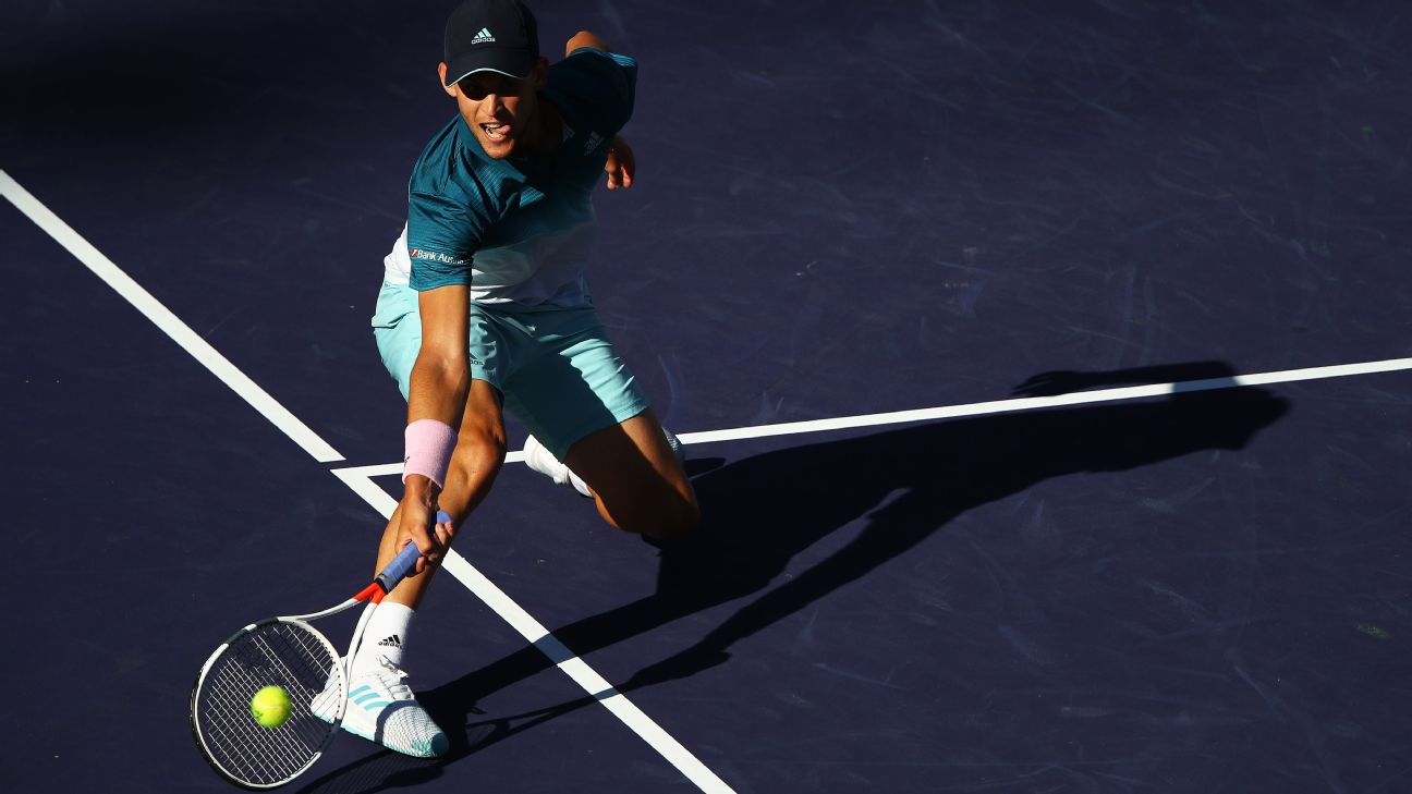 Dominic Thiem edged Roger Federer in three sets to win the BNP Paribas Open, claiming the biggest title of his career while denying Federer a record sixth title in the desert.