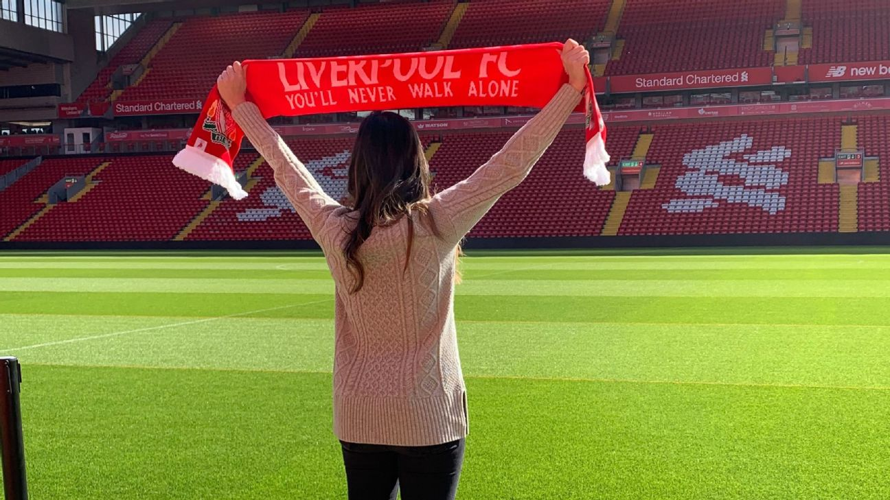 Katie Nolan steps out onto the hallowed pitch at Anfield.