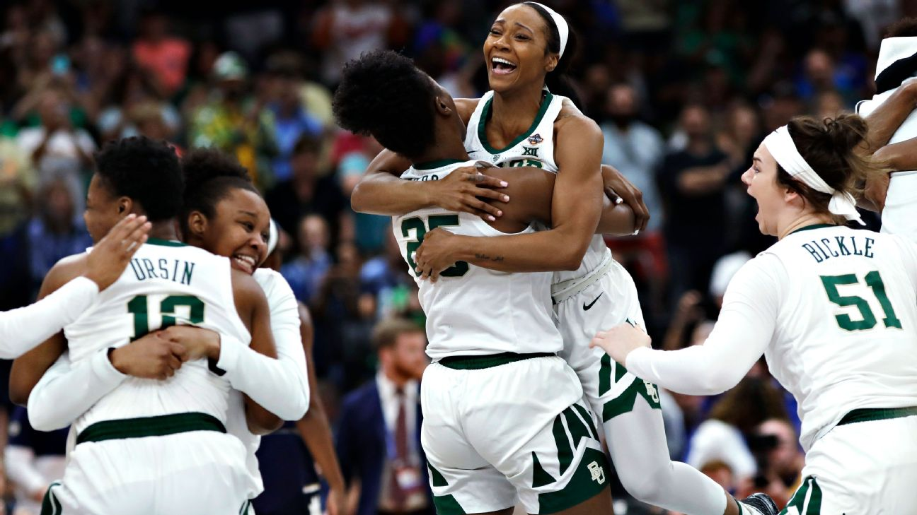 Baylor's Chloe Jackson celebrates with teammates after scoring or assisting on the Lady Bears' final six points, including the game-winning layup. AP Photo/Chris O'Meara