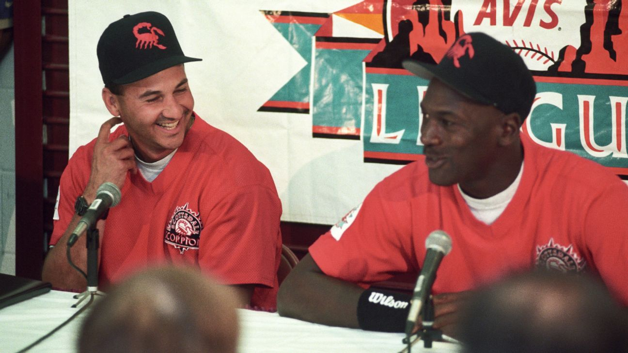 """I truly believe that he rediscovered himself, his joy for competition [playing baseball],"" said Francona, left, who managed Jordan in Birmingham and the Arizona Fall League. ""We made him want to play basketball again. And he made me a better manager."""
