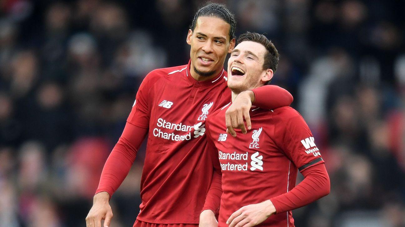 Van Dijk, left, and Liverpool seem destined for the semifinals.
