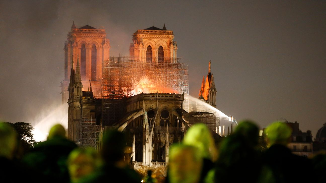 Kylian Mbappe, Paul Pogba and Neymar were among the PSG and French football stars to pay their tributes after a fire partially destroyed Notre Dame.