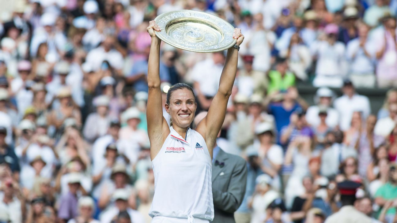 Angelique Kerber celebrating her victory over Serena Williams in the 2018 Wimbledon final.