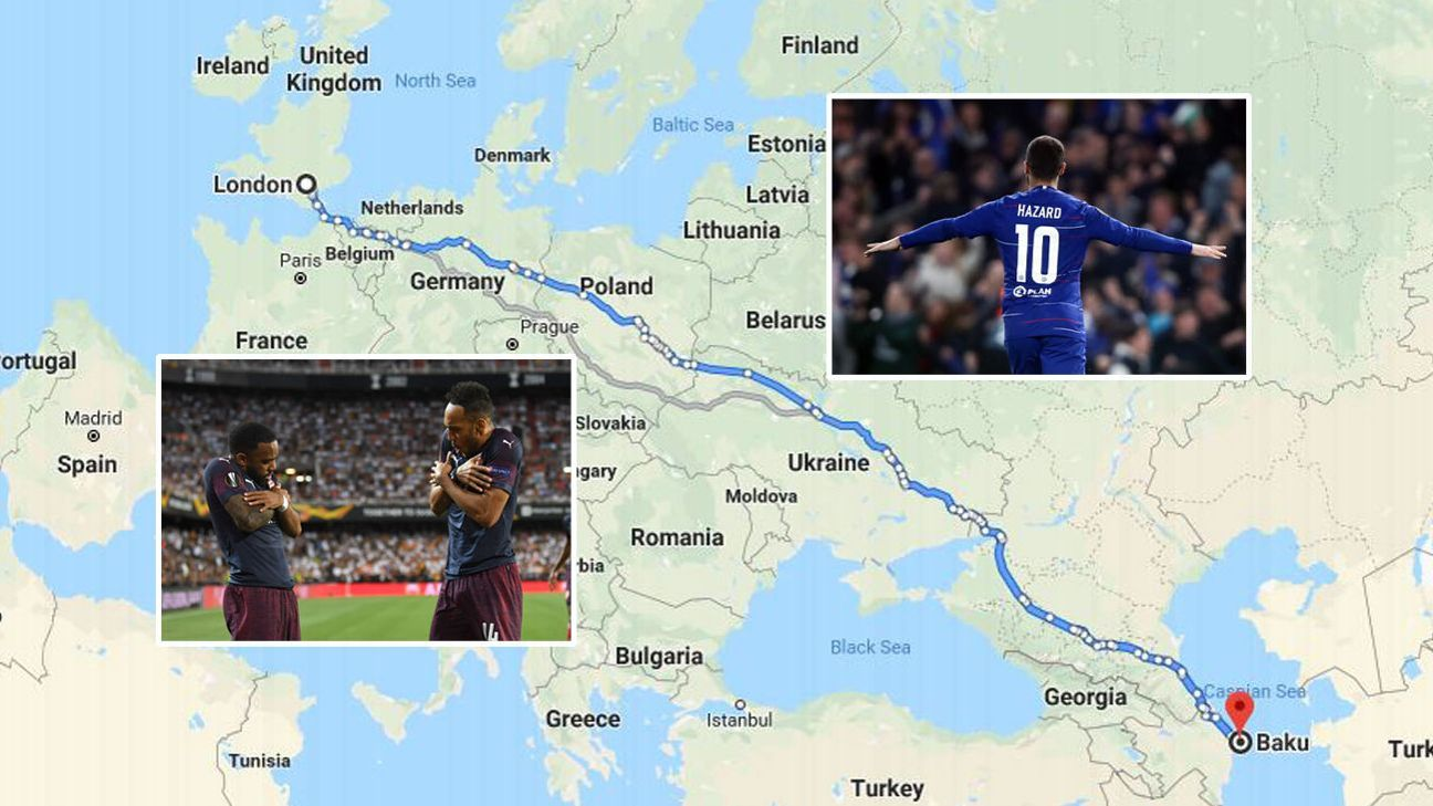 London rivals Chelsea and Arsenal will have to travel about 2,850 miles to play the Europa League final in Azerbaijan. How best to make the journey?